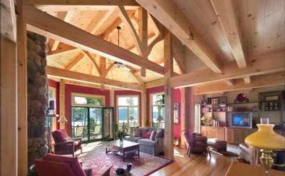 living room with high wooden ceilings