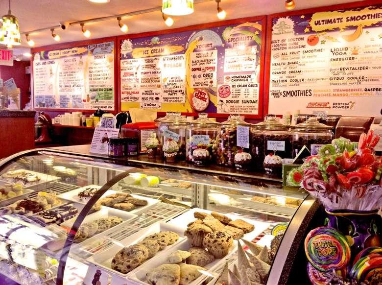 ice cream menu in a shop