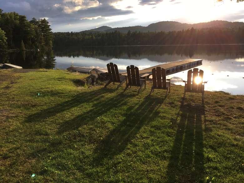 Adirondack Chairs - lakefront at Long Pond Cabins