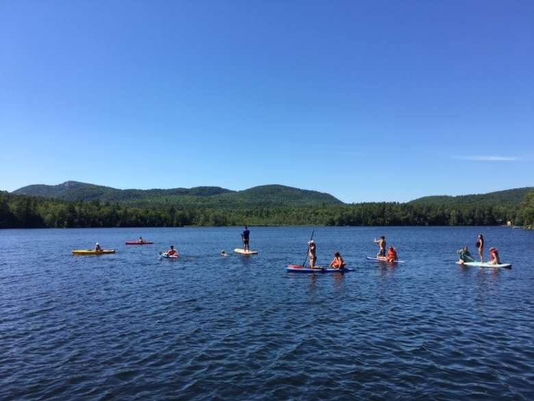 Kids on the lake at Long Pond Cabins