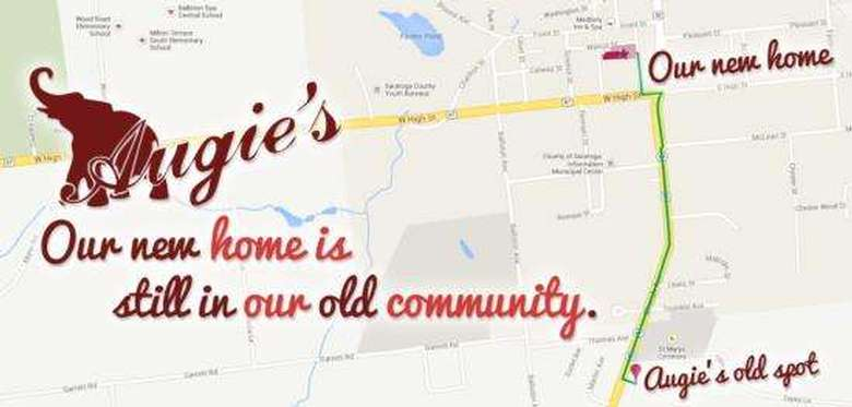 map showing directions from augie's old location to its new location