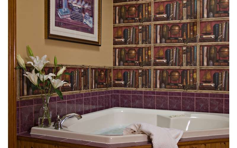 bathtub with what looks like book wallpaper