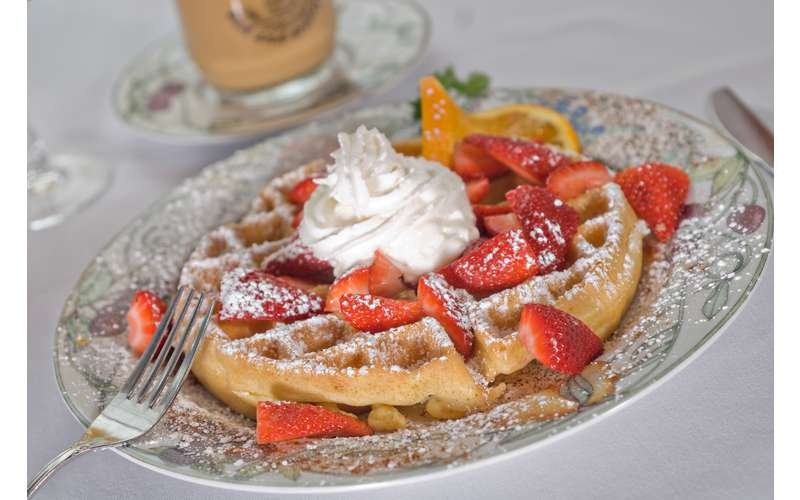 plate of strawberries and waffles with whipped cream in the middle