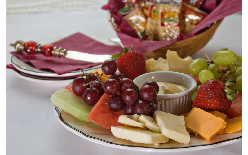 spread of fruit and cheese