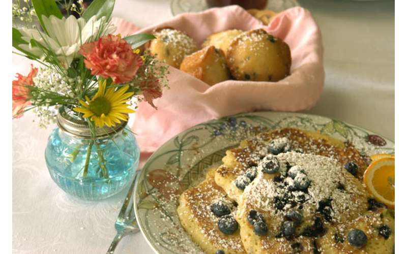 blueberry pancakes and muffins with flowers