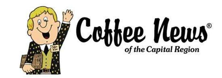 banner that displays coffee news logo of a cartoon man waving and states coffee news of the capital region