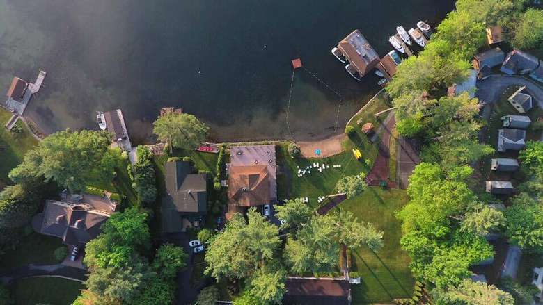 aerial view of chelka lodge property
