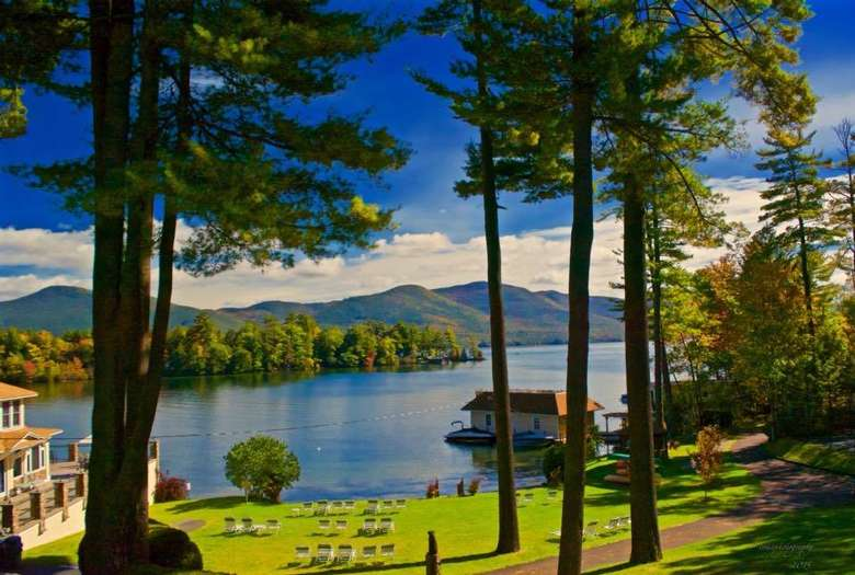 view of lake george from chelka lodge