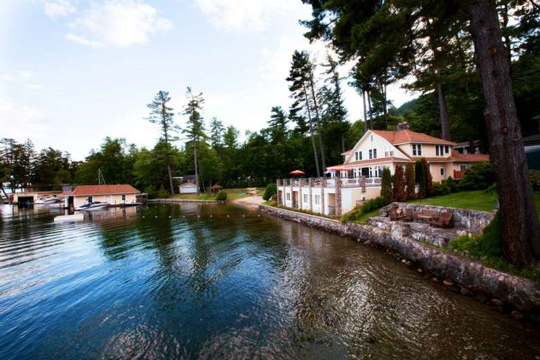 view of chelka lodge property from the water