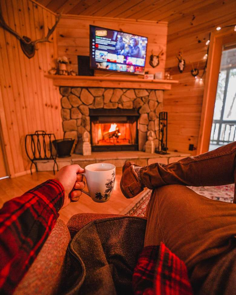 coffee by fireplace