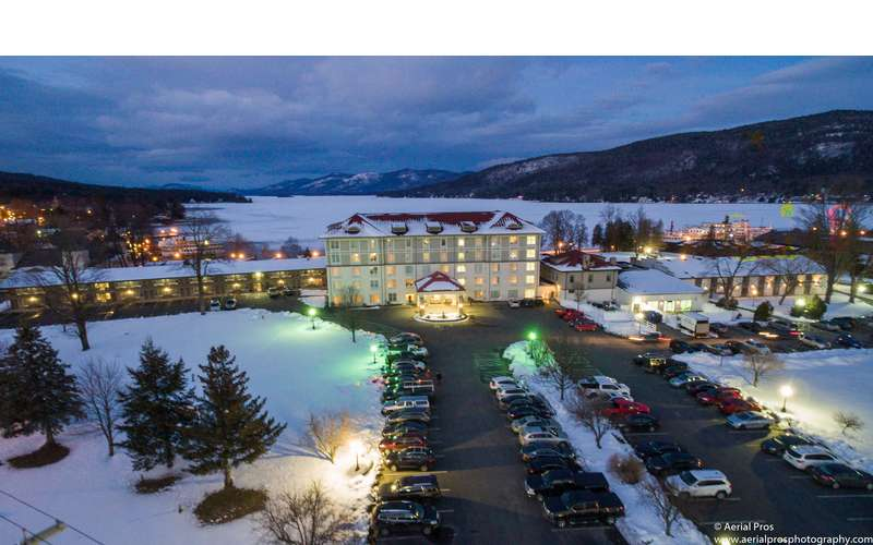 Winter aerial view of Fort William Henry Hotel at Dusk