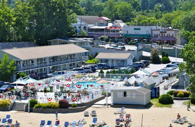 aerial view of marine village resort on lake george