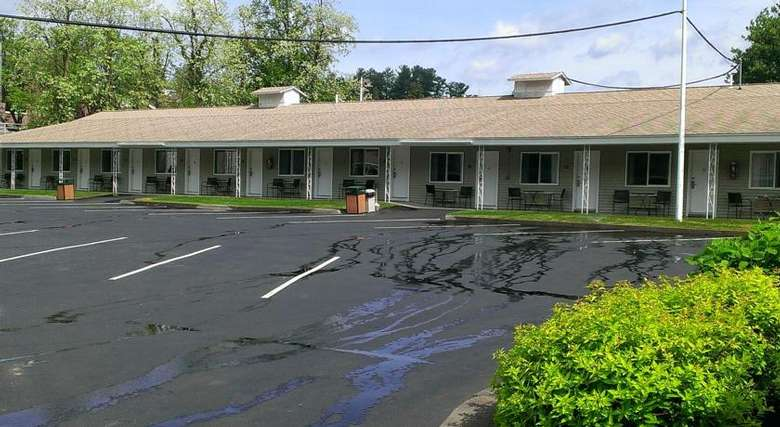 row of motel room exteriors