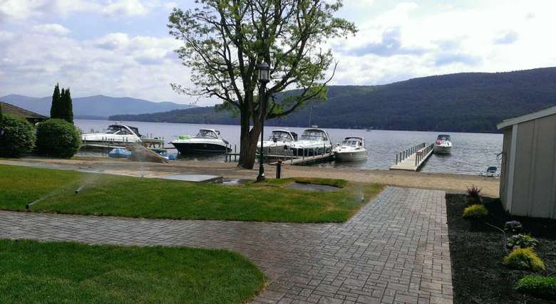 view of docked boats on lake george