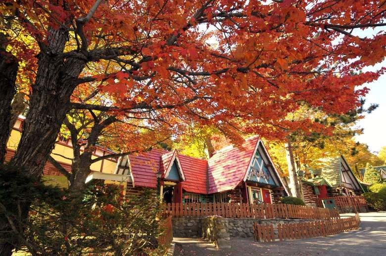 Santa's Workshop village in the fall