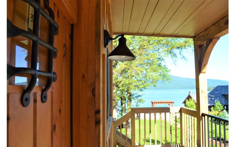 a lamp on a deck