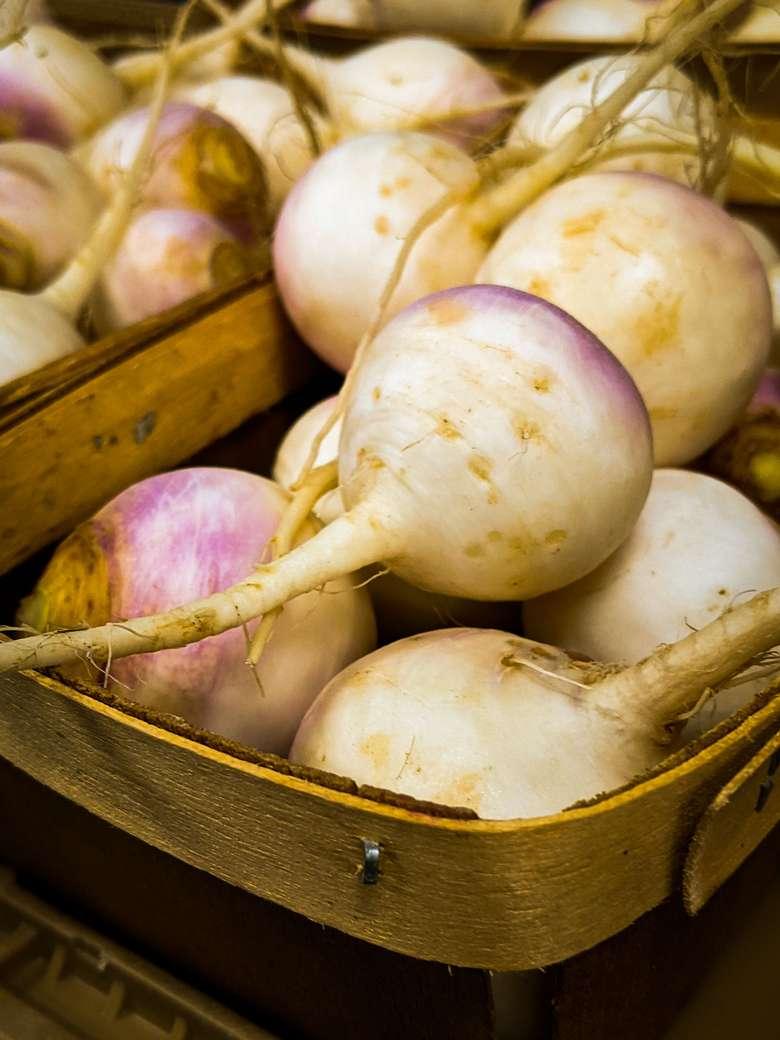 turnips in wooden baskets