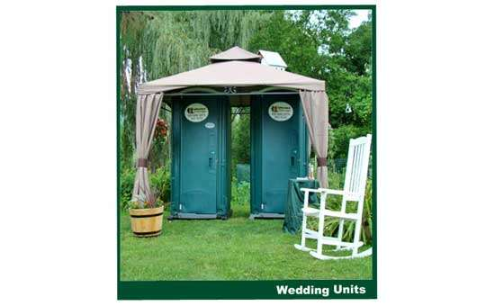 two wedding unit portable restrooms