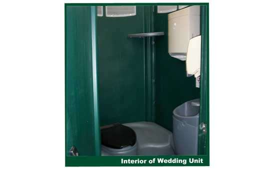 the inside of a portable restroom unit