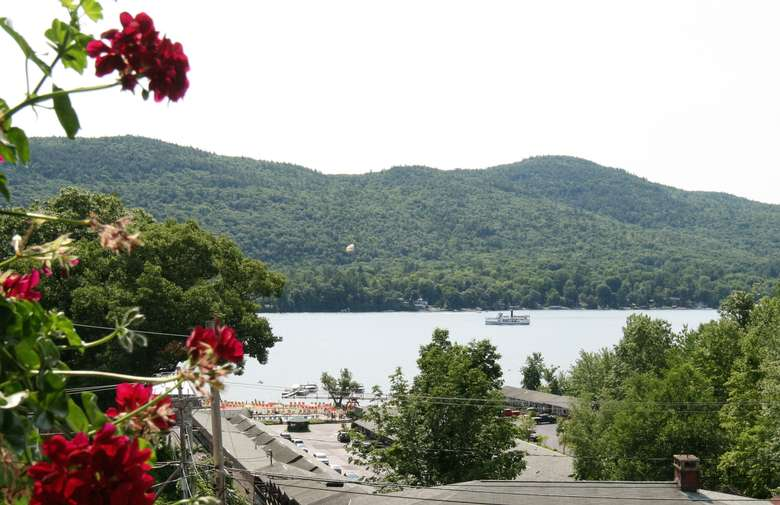 view of lake george from nordicks inn's lakeview rooms