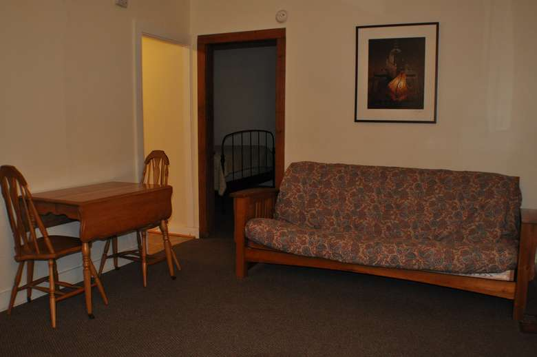 living room, dining table, futon
