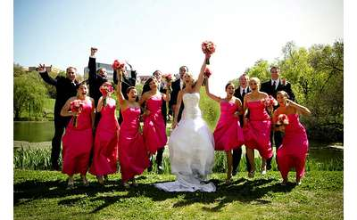 bride, groom, bridesmaids, and groomsmen