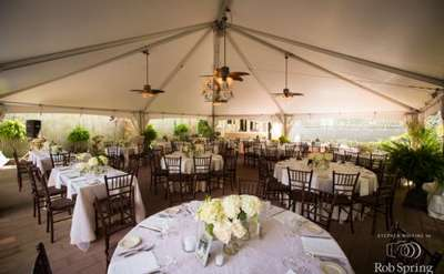 Outdoor wedding reception area