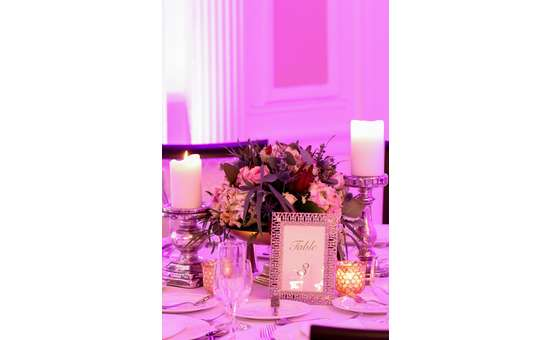 close up photo of table with candles and flowers
