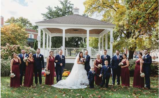 wedding party outside of the bandstand in Glens Falls
