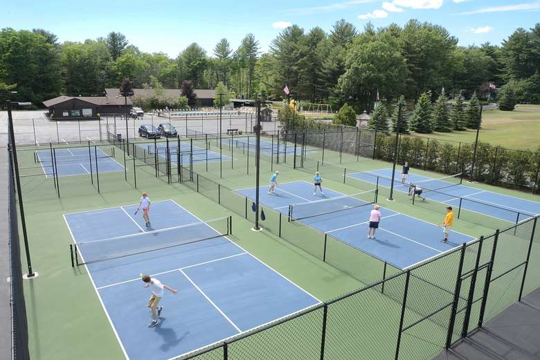 six pickleball courts