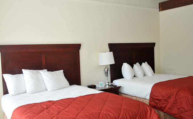 two beds in a bedroom with red and white bedspreads