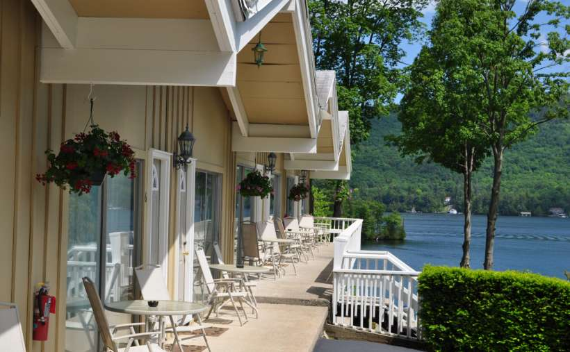 side view of cottages, outdoor furniture