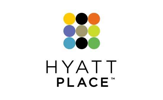 logo displaying nine multicolored circles and the name hyatt place