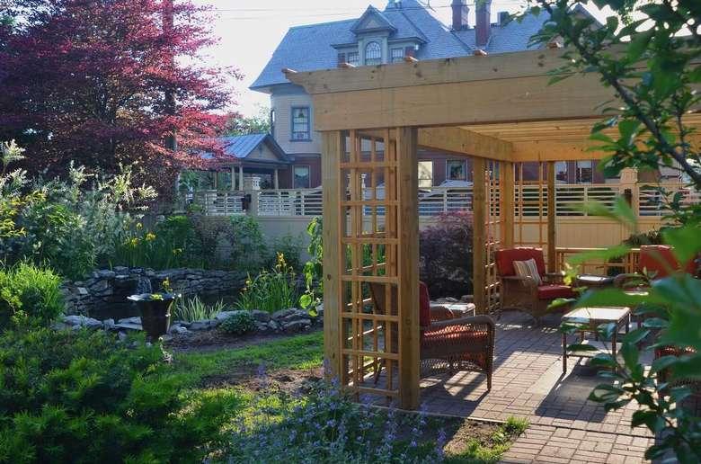 Enjoy the garden and pond pavilion at Union Gables Saratoga Springs NY