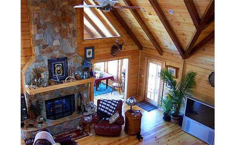great room in a new house as seen from above