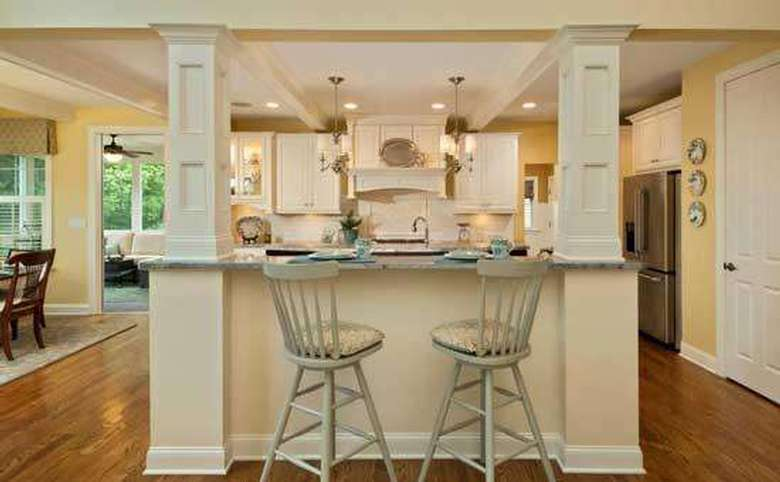 bar seating area with two stools in a kitchen
