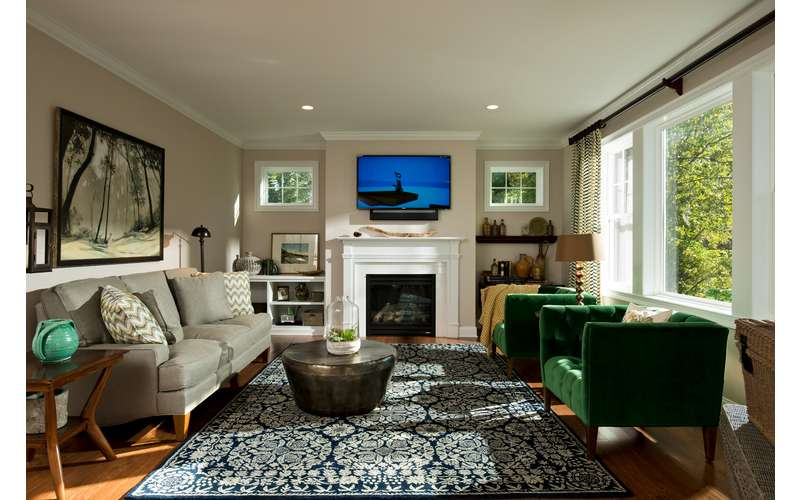 The Family Room in the open floor plan of the Frisco - our 2013 Saratoga Showcase Home