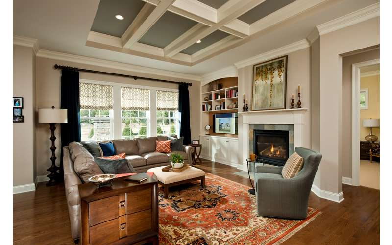 Family Room featuring coffered ceiling in our 2014 Saratoga Showcase Home