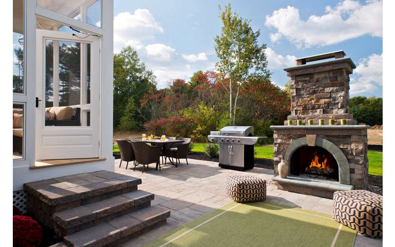 Outdoor living area 2014 Saratoga Showcase Home in the Mill at Smith Bridge, Newlin II