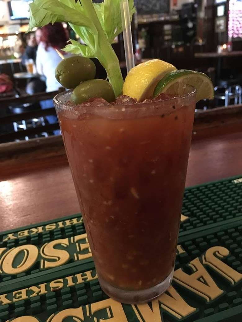 a bloody Mary on a bar