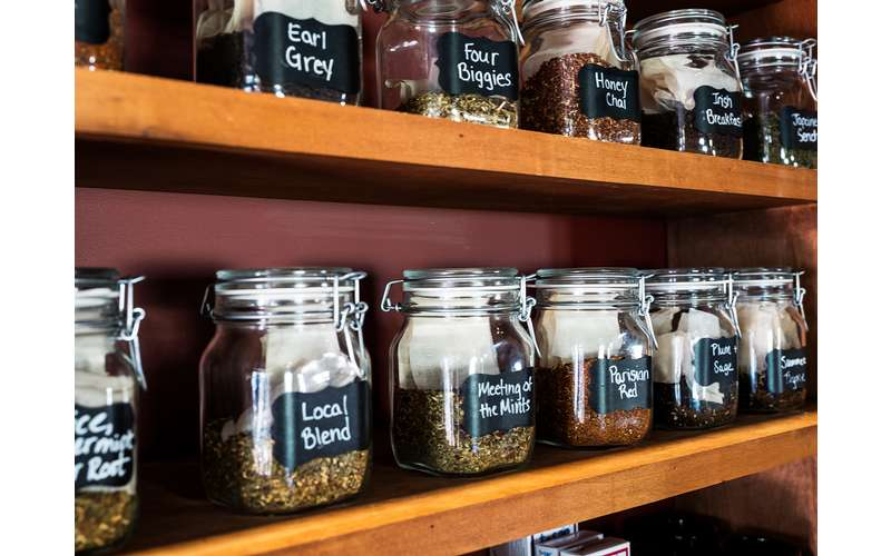shelf filled with teas