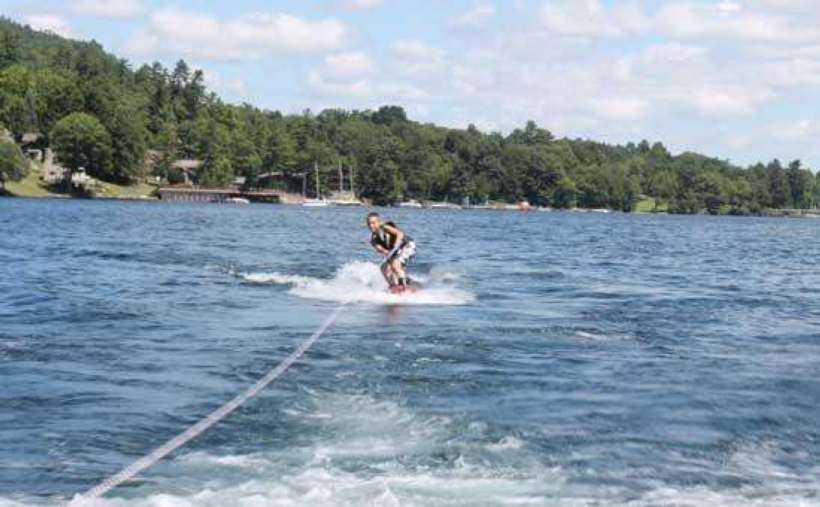 a person water skiing