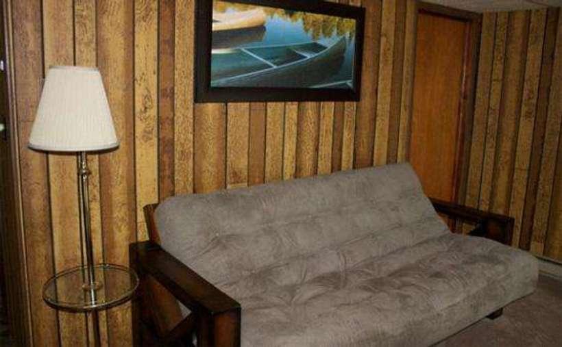 a gray futon