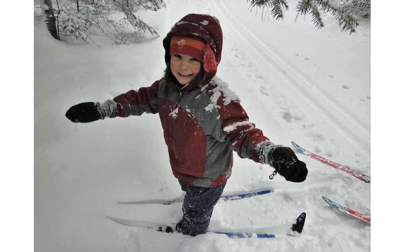 cross-country ski child in snow
