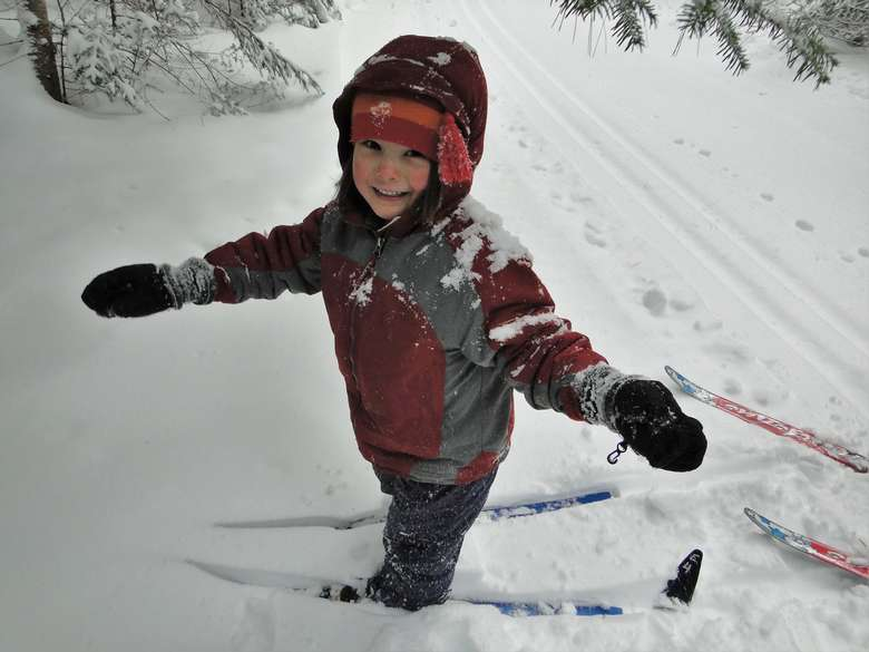 cross-country ski child in snow