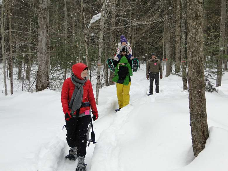 a group of snowshoers on a trail