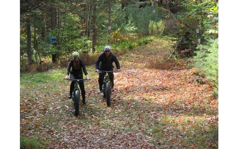 fat tire biking on a trail