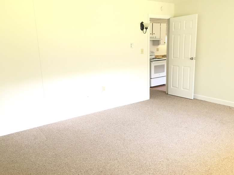 apartment bedroom with white walls and tan carpet