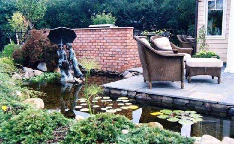 pond with lillypads next to a slate deck with a seating area