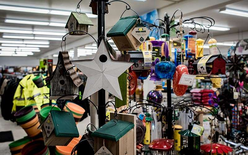 birdhouses in a store